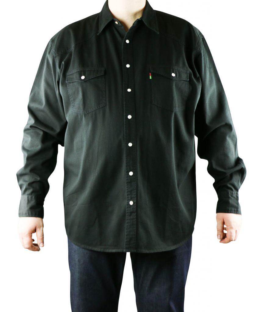 chemise jean noir grande taille homme western de duke. Black Bedroom Furniture Sets. Home Design Ideas