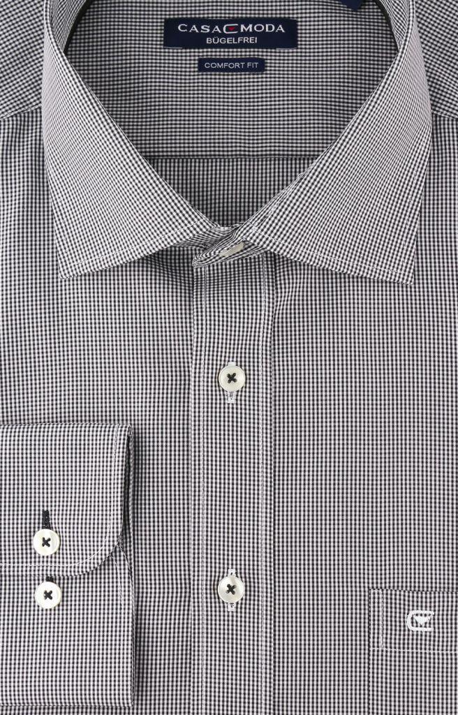 Chemise manches longues petits carreaux noir et blanc casa for Jupe a carreaux noir et blanc