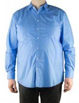 "Chemise Grande Taille Unie Manches Longues \""Nevada\"" Bleu Duke Clothing"