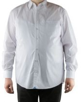 "Chemise Grande Taille Unie Manches Longues ""Ramon\"" Blanche Duke Clothing"