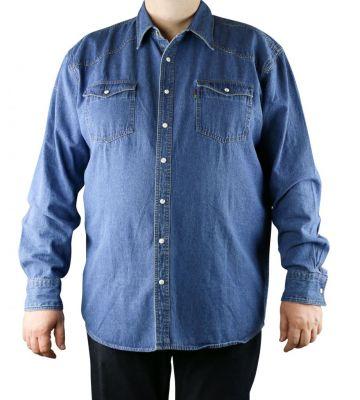 Bleu Jean De Chemise Grande Taille Western Homme Duke N8mn0w