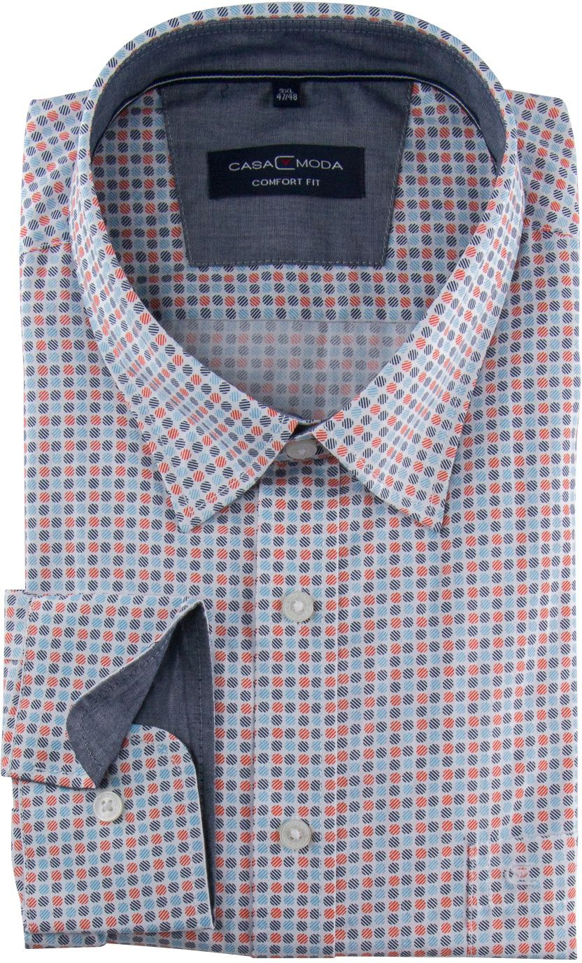 Chemise Manches Longues Bleue & Rouge à Pois  Casa Moda du 2XL au 7XL