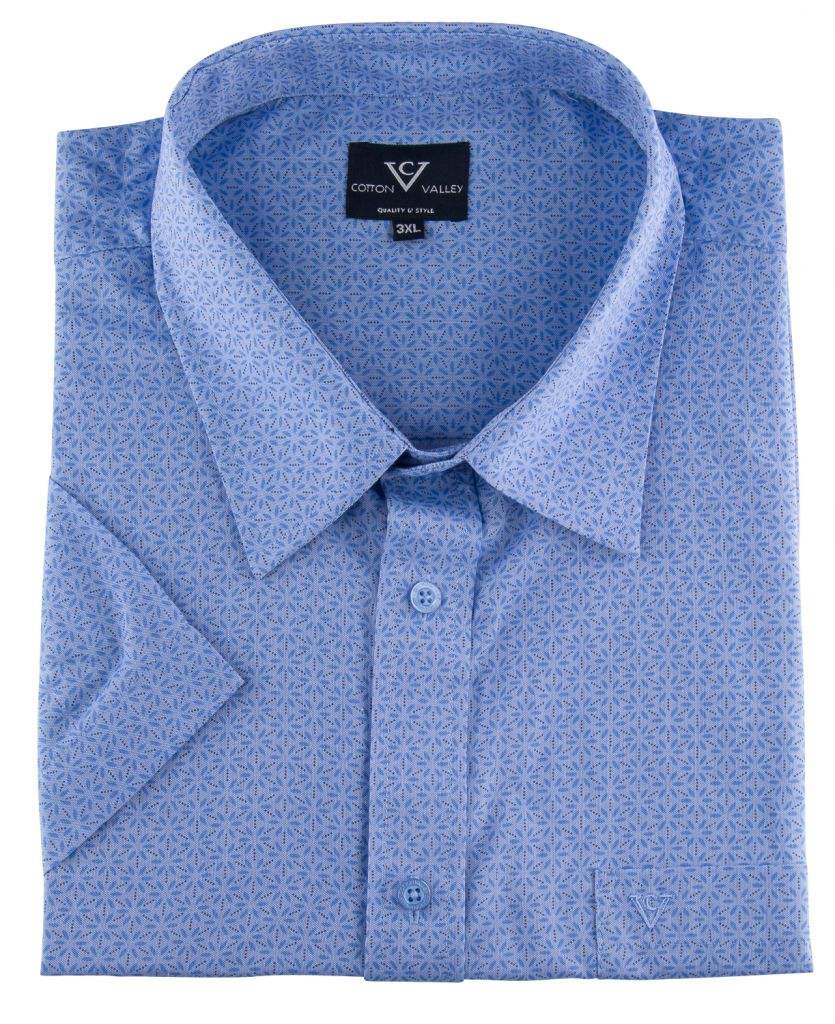 Chemisette Manches Courtes Bleue Cotton Valley du 2XL au 8XL