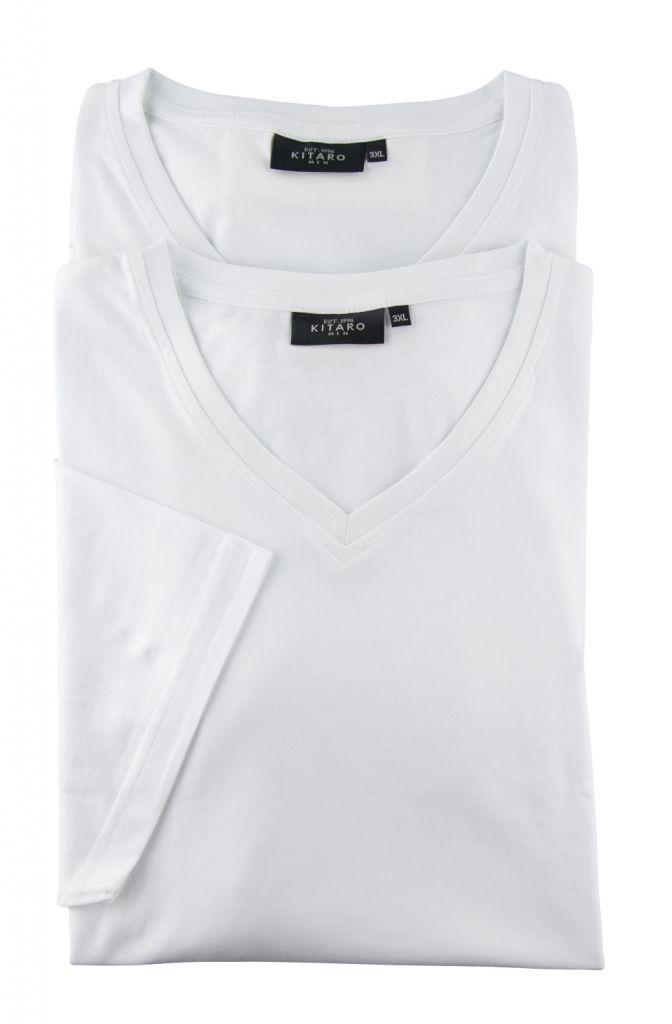 Lot de deux T-Shirt Blanc Manches Courtes Col V Kitaro