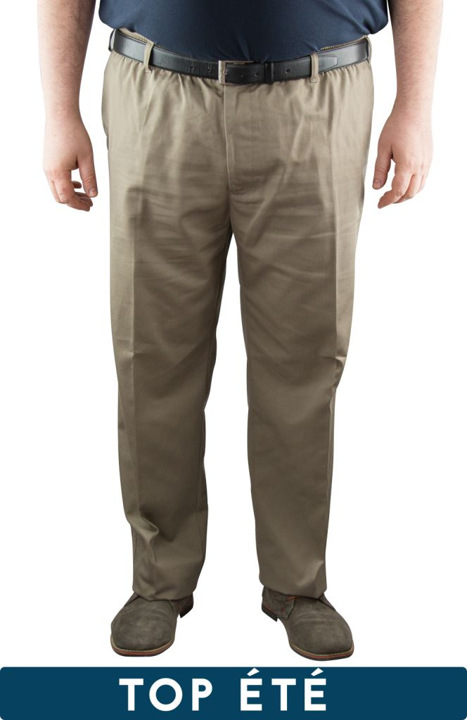"""Pantalon Taille Élastiquée \""""Basilio\"""" Beige de DUKE"""
