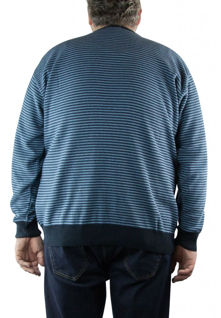 Pull Col Rond Bleu Marine du 2XL  au 5XL Cotton Valley
