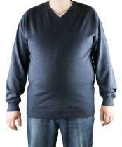 Pull Col V 100% Cotton Bleu Jean All Size