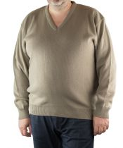 Pull Col V Beige Cotton Valley du 2XL au 8XL