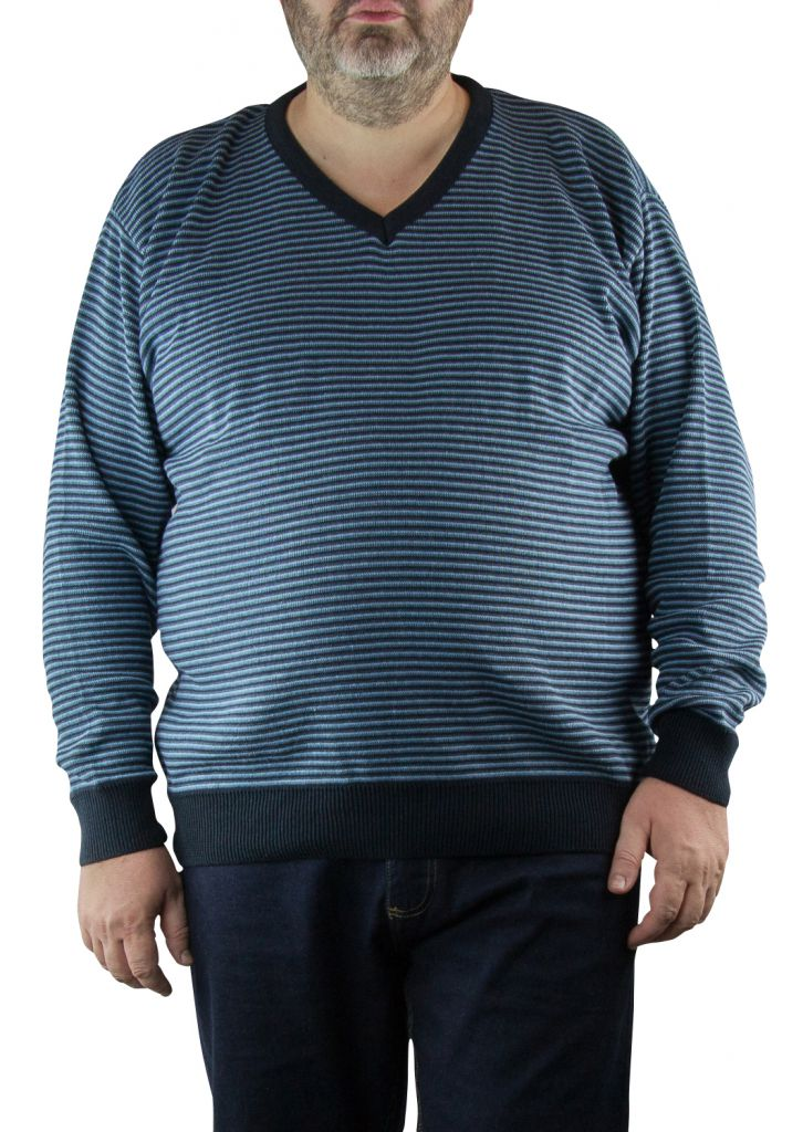 Pull Col V Bleu Marine du 2XL  au 5XL Cotton Valley