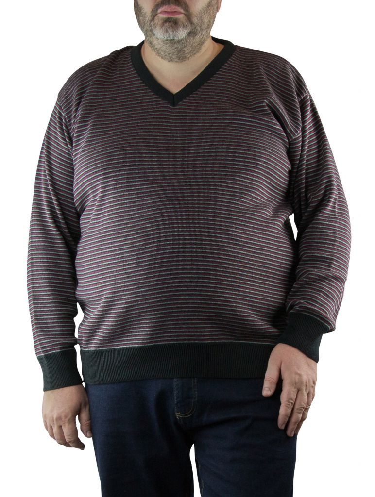 Pull Col V Bordeaux du 2XL  au 5XL Cotton Valley