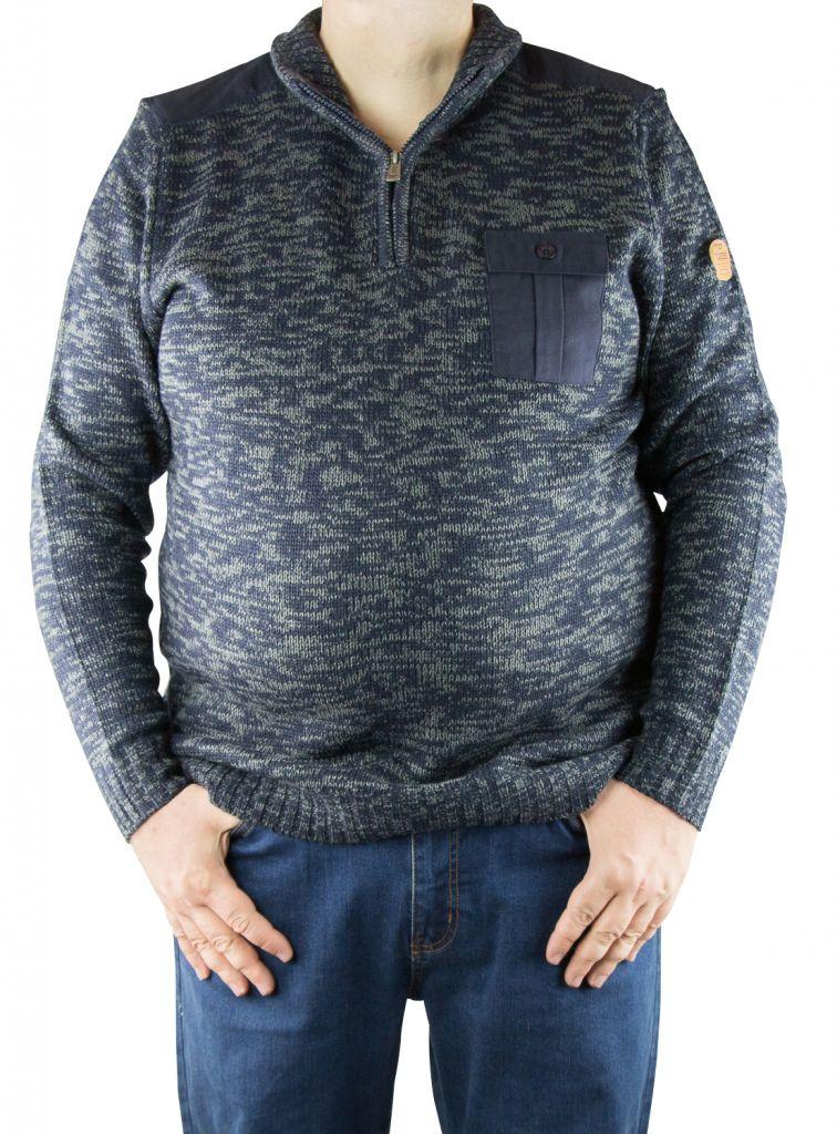 pull grande taille col zip frost noir et gris chin duke clothing. Black Bedroom Furniture Sets. Home Design Ideas