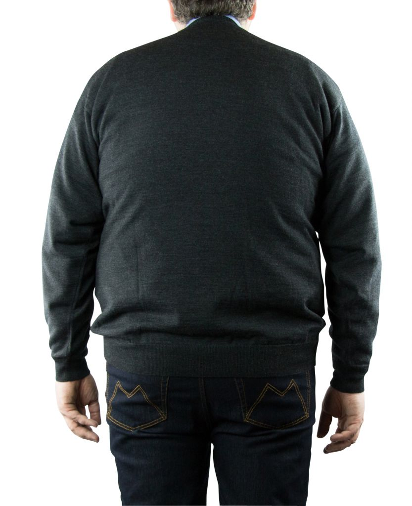 Pull Laine Woolmark Col Rond Anthracite Monte Carlo