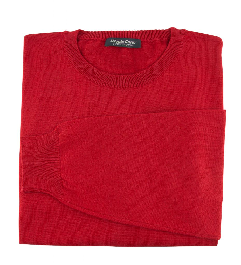 Pull Laine Woolmark Col Rond Rouge Monte Carlo
