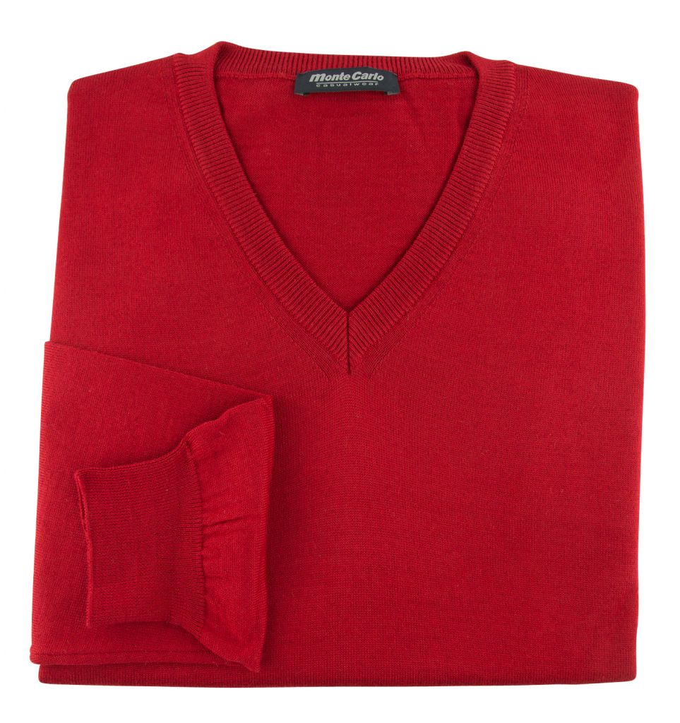 Pull Laine Woolmark Col V Rouge Monte Carlo