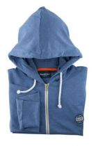 Sweat à Capuche Zippé 100% Coton Bleu All Size