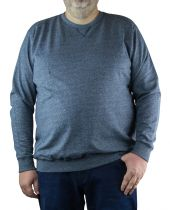 Sweat Col Rond Grande Taille Bleu Gris Chiné du 2XL au 8XL All Size