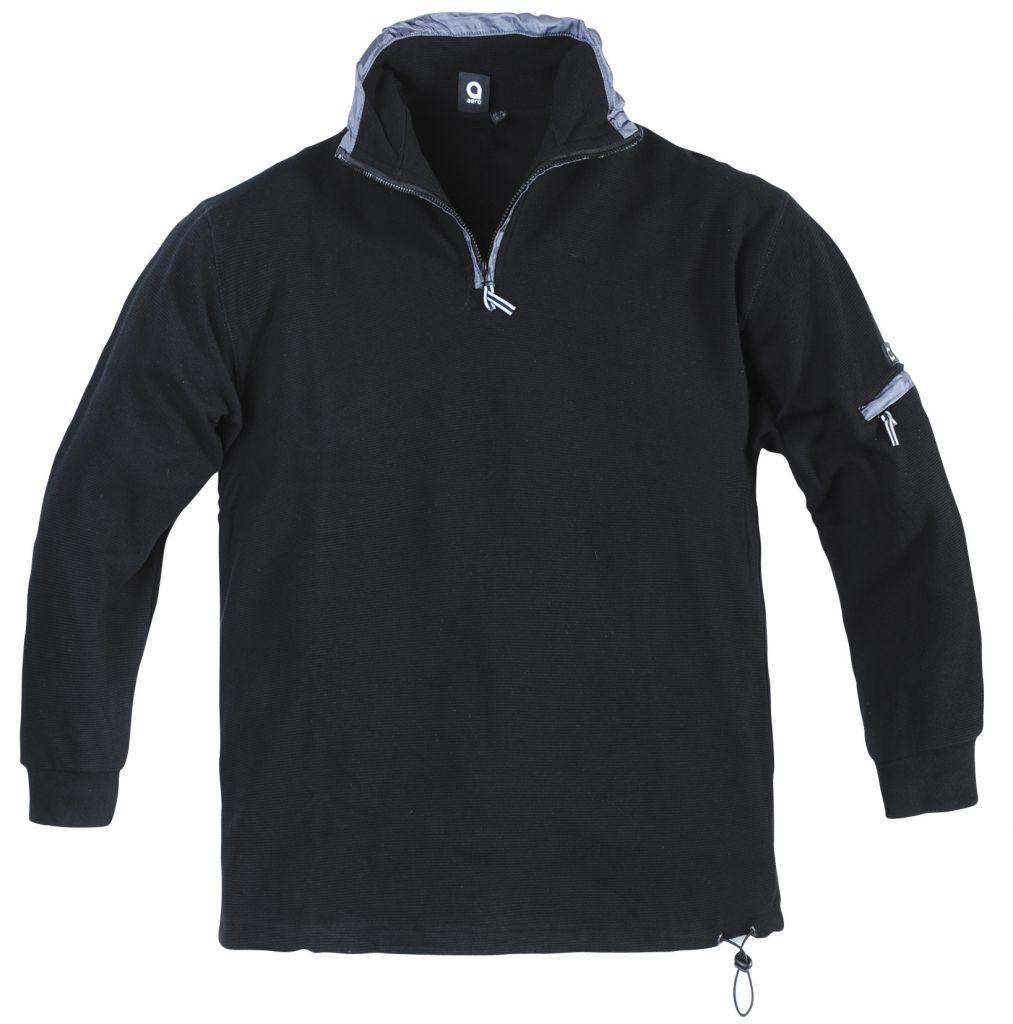 Sweat Col Zippé 100% Cotton Noir All Size