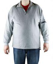 Sweat Col Zippé Coton Gris All Size