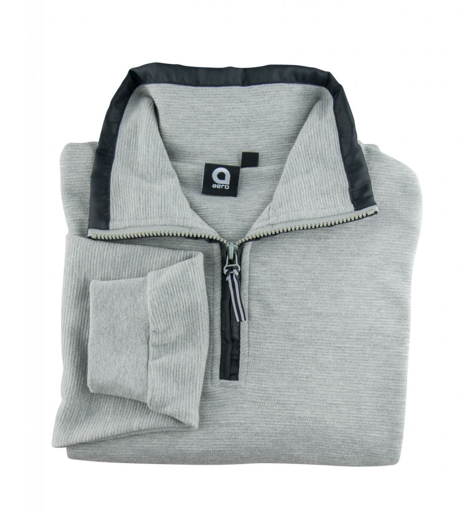 Sweat Col Zippé Coton Gris All Size