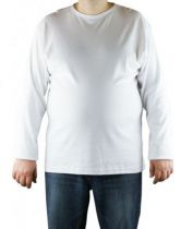 T-Shirt Blanc Manches Longues Col Rond 100% Cotton All Size