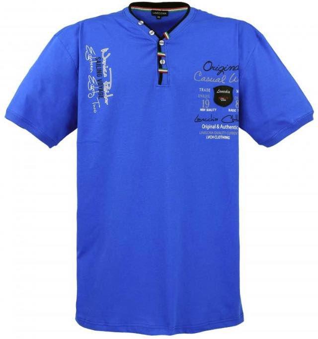 T-Shirt Col V à Boutons à Manches Courtes Bleu Lavecchia du 3XL au 8XL