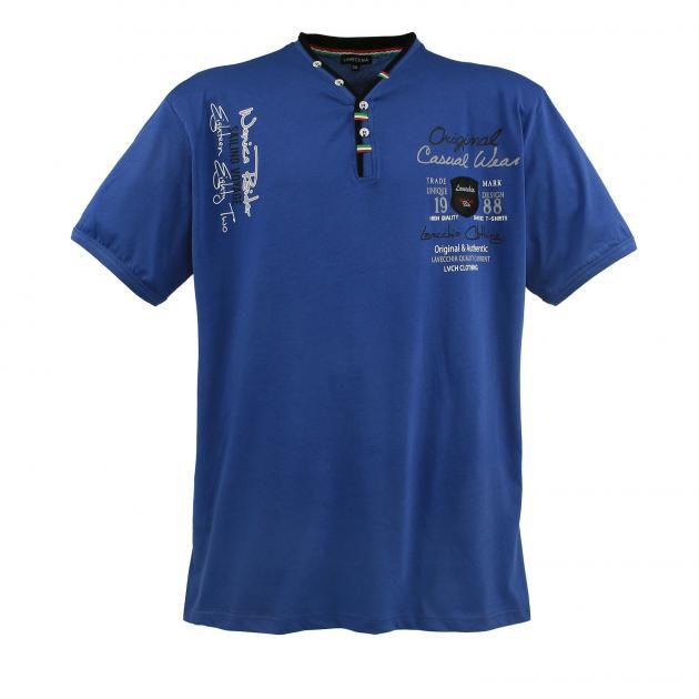 T-Shirt Col V à Boutons à Manches Courtes Noir Lavecchia du 3XL au 8XL