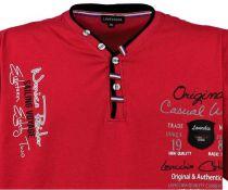 T-Shirt Col V à Boutons à Manches Courtes Rouge Lavecchia du 3XL au 8XL