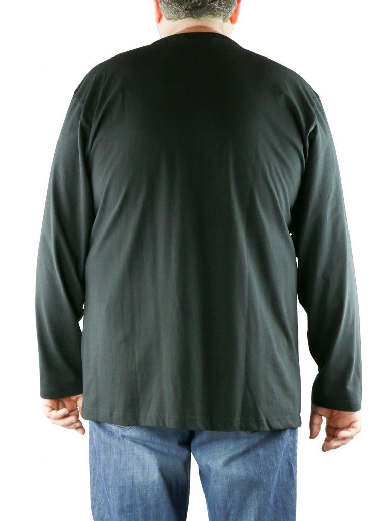 T-Shirt Noir Manches Longues Col Rond 100% Cotton All Size