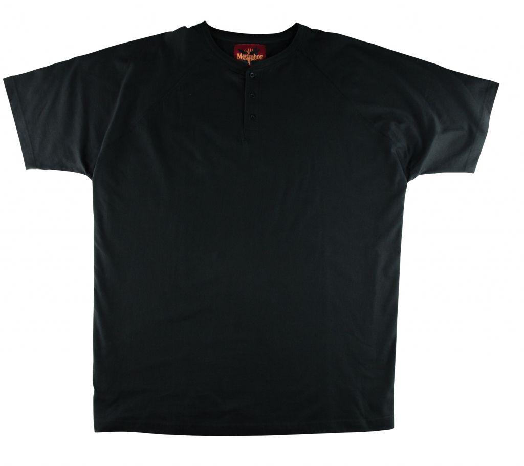 Tshirt Col Tunisien Noir à Manches Courtes  du 2XL au 8XL Cotton Valley