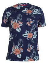 Tshirt Imprimé Fleurs Manches Courtes Bleu Marine Duke du 3XL au 6XL