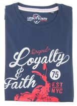 Tshirt Manches Courtes Grande Taille Bleu Marine Loyalty & Faith du 2XL au 5XL