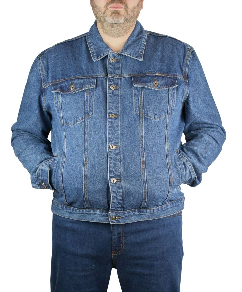 Bleu Trucker Duke Homme Taille Veste Jean Grande De 5BwTn7q