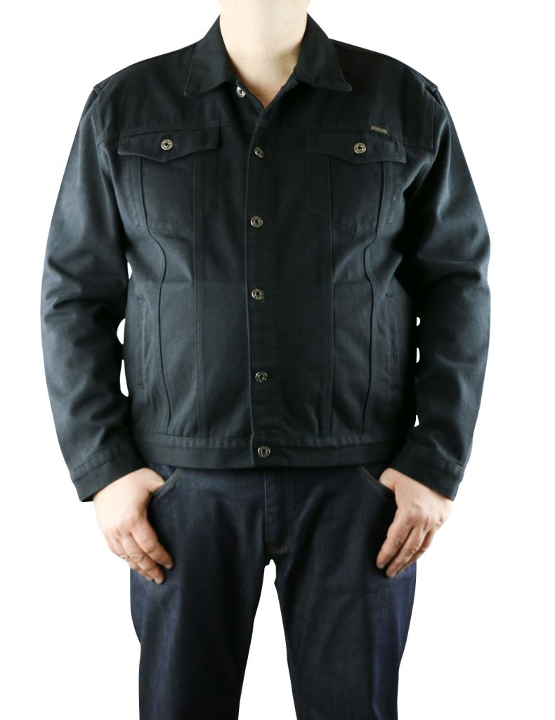 veste jean noir grande taille homme trucker de duke. Black Bedroom Furniture Sets. Home Design Ideas